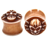 "Brown Spider Skull Acrylic Saddle Ear Plugs (2g-5/8"")"