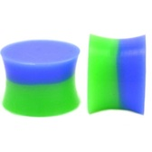 "Blue & Green Solid Silicone Saddle Ear Plugs (8g-5/8"")"