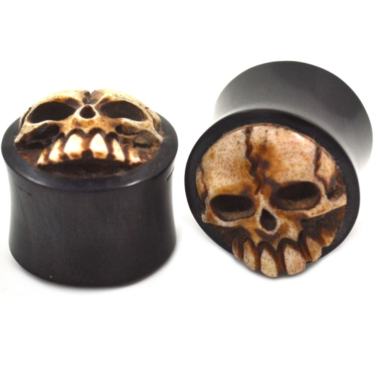 Pair Of 3d Skull Hand Carved Organic Buffalo Horn Double Flared Ear Plugs Gauges Sold As