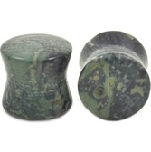 "Green Spotted Jasper Stone Double Flared Plugs (8g-1"")"
