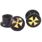 "Black and Gold Iron Cross Logo Ear Plugs (8g-5/8"")"
