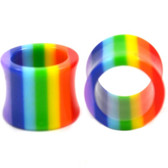 "Rainbow Colors Stripe Acrylic Tunnels (2g-1"")"