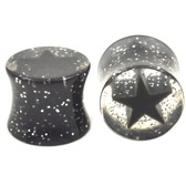 "Clear Black Glittery Star Ear Plugs (0g-7/8"")"