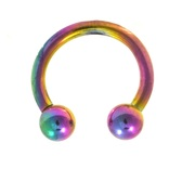Rainbow Titanium Horseshoe Ring 14G (2 Sizes)