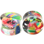 "Glitter and Candy Acrylic Saddle Ear Plugs (2g-5/8"")"