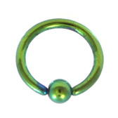 Green Fixed Ball Captive Bead Ring CBR 16G 5/16""