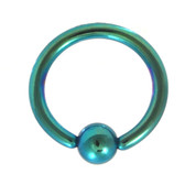 Green Fixed Ball Captive Bead Ring CBR 14G 3/8""