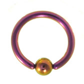 Purple Fixed Ball Captive Bead Ring CBR 16G 5/16""