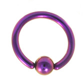 Purple Fixed Ball Captive Bead Ring CBR 14G 3/8""