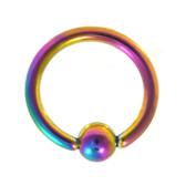 Rainbow Fixed Ball Captive Bead Ring CBR 16G 5/16""