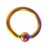 Rainbow Fixed Ball Captive Bead Ring CBR 14G 3/8""