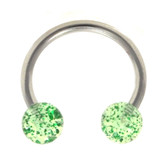 Green Glitter Balls Horseshoe Ring 16g 3/8""