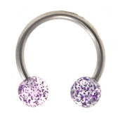 Purple Glitter Balls Horseshoe Ring 16g 3/8""