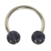 Black Glitter Balls Horseshoe Ring 16g 3/8""
