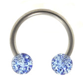 Blue Glitter Balls Horseshoe Ring 16g 3/8""