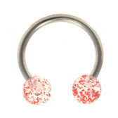 Red Glitter Balls Horseshoe Ring 16g 3/8""