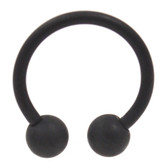 Black Matte Horseshoe Ring Circular 14G (2 Sizes)