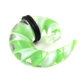 Green/Clear/White Pyrex Glass Spiral Tapers (6g-00g)