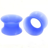 "Light Blue Flexible Silicone Ear Skin Tunnels (8g-5/8"")"