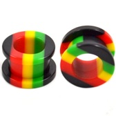 "Rasta Jamaican Stripe Acrylic Screw Tunnels (6g-5/8"")"
