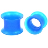 "Blue Double Flared Silicone Ear Skin Tunnels (6g-7/8"")"