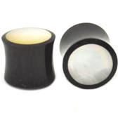 "Mother Of Pearl Face Buffalo Horn Ear Plugs (2g-1"")"