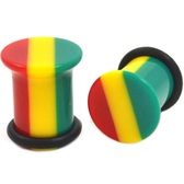 "Acrylic Rasta Striped Single Flared Ear Plugs (8g-5/8"")"
