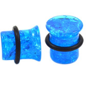 "Blue Cracked Gem Single Flared Ear Plugs (4g-1/2"")"