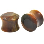 "Brilliant Cut Tiger Eye Stone Ear Plugs (4g-5/8"")"