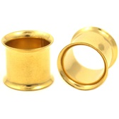 "Gold Plated Double Flared Flesh Tunnel Plugs (10g-1"")"