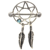 PAIR - Aqua Dreamcatcher Dangle Nipple Shields 14g