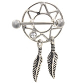PAIR - Clear Dreamcatcher Dangle Nipple Shields 14g