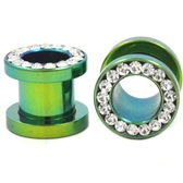 "Green Titanium Gem Rim Screw Fit Tunnels (8g-1/2"")"