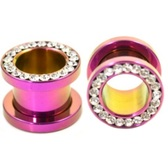 "Purple Titanium Gem Rim Screw Fit Tunnels (8g-1/2"")"
