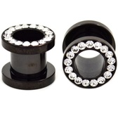 "Black Titanium Gem Rim Screw Fit Tunnels (10g-1/2"")"