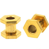 "Gold Plated Hexagon Screw Tunnels Plugs (10g-1/2"")"