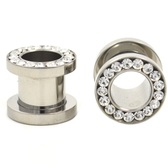"Clear Gem Rim Screw Fit Steel Tunnels (8g-1/2"")"
