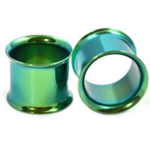 Green Titanium Double Flared Tunnel Plugs (12g-1)