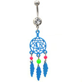 Neon Blue Dreamcatcher Dangle Belly Ring