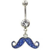 Blue Glitter Filled Mustache Dangle Belly Ring