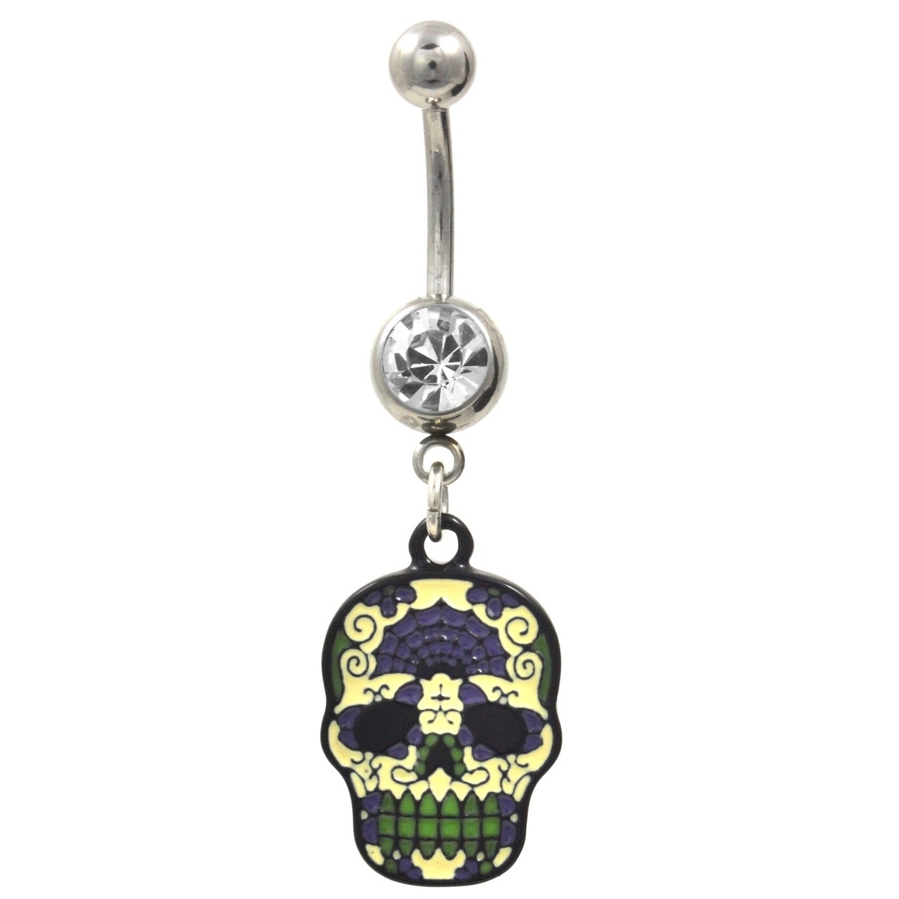 Green And Purple Sugar Skull Clear Gem Belly Ring