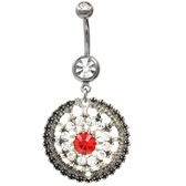 Clear/Red Gem Encrusted Medallion Belly Ring
