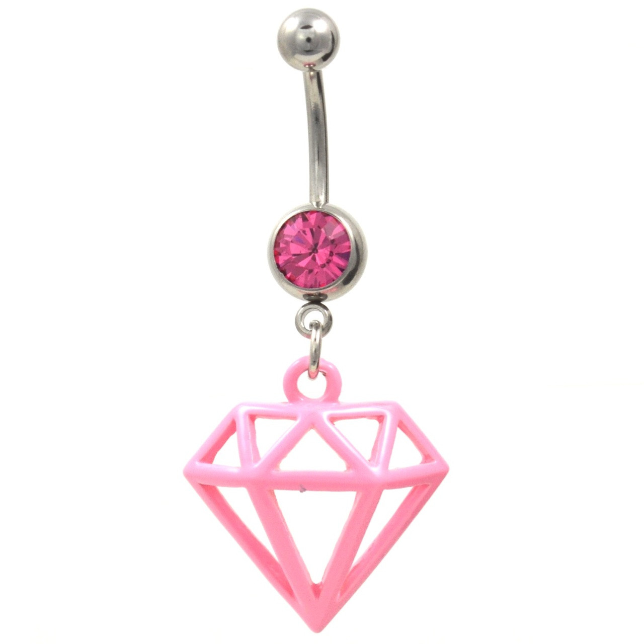 Pink Diamond Shaped Dangle Belly Button Ring