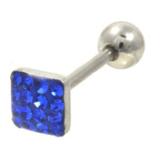 Blue Ferido Gems Square Top Barbell 14G 5/8""