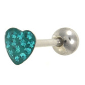 Teal Crystal Paved Heart Tongue Ring Barbell 14g 5/8""