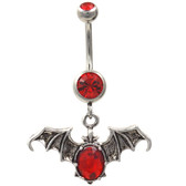 Red Gems Vampire Bat Dangle Belly Ring