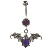 Purple Gems Vampire Bat Dangle Belly Ring
