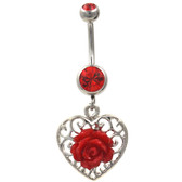 Red Rose and Vintage Heart Background Belly Ring