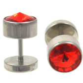 Steel Pointed Red CZ Gem Fake Plugs (0g Look)