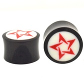 "Red and White Tribal Star Organic Ear Plugs (2g-1"")"